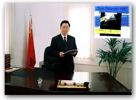 The Mayor of Chanchun City Mr.  Zhu Yejing in his office. Painting by Ture Sjolander - Acrylic on Canvas. Approx. Size on the wall.